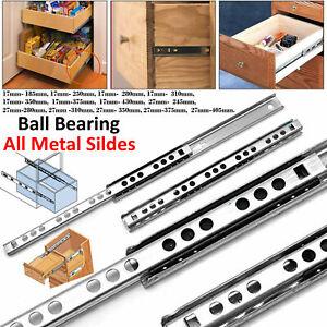 1 Pair AOLISHENG Kitchen Drawer Runners 27mm Groove Ball Bearing Slides H-27mm L-250mm