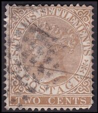 STRAITS SETTLEMENTS 1882 QV 2c brown w.CA Isc#49 - FAULTS/ BACK THINNED @E2983
