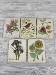 HenFeathers 5 Floral Plaques hand-cast composite French country Multi Colored /r