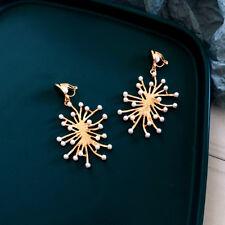Ohrringe CLIP auf golden Kerzenhalter Perle weiß Bügel Koralle Metall J14