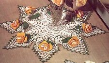 Vintage Crochet PATTERN to make Rosebud Roses Leaves Doily Centerpiece