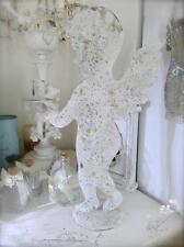 Set of 2 Beach Coastal Metal White Cherub Angel Chic Angel Statue Candle Holder