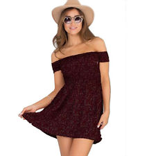 1a8edbe66d5 Womens Off The Shoulder Summer Beach Mini Sundress Party Casual Dress Top  Shirts