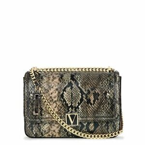Victorias secret cross body shoulder animal print bag purse gold chain NWT