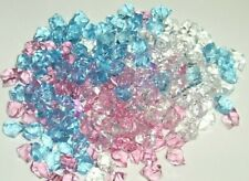 185 assorted decorative Acrylic Ice Cubes clear, pink. blue clearance