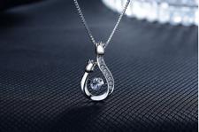 Rose Winding Zircon Pendant 925 Sterling Silver Necklace jewellery Women Gift UK