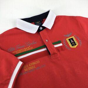 Men's Aeronautica Militare Short Sleeve Shirt Casual Red Size - S