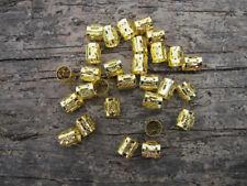 100pcs 8mm Gold Dreadlock Beads Dread Hair Braid Adjustable Cuff Tube Clip