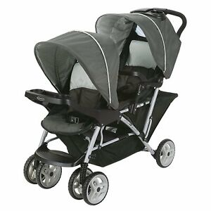 Duo Glider Double Stroller 2 Reclining Seats With Individual canopy And Footrest