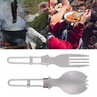 Titanium Folding Spork Portable Outdoor Camping Cutlery Travel Tableware Spoon