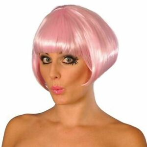 Adult Glamour Babe Short Ear Length Straight Hair w/Bangs Light Pink Costume Wig