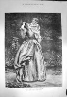 Original Old Antique Print 1872 Up In The World Mother Baby Girl Bayes 19th