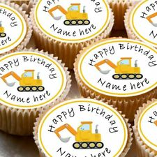 24 icing cake decorations toppers can be personalised digger truck builder