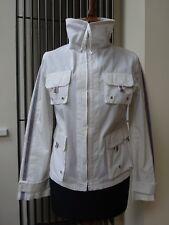Designer ADOLFO DOMINGUEZ Cotton  Mac Jacket Top White Striped Size 38 / UK 10