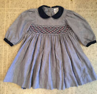 Friedknit Creations 2 Toddler Girl Long Sleeve smocked Embroidered Cotton Dress