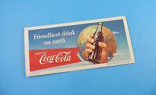 Coca Cola - Original 1956 Advertising Blotter - Friendliest Drink On Earth