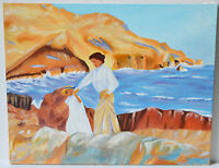 """Acrylic Painting on Canvas 20"""" Seascape Mother and Girl Wall Artwork"""