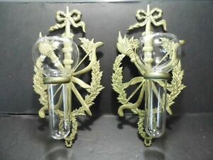 Vintage Pair of Brass and Glass Vase Wall Sconces - Torch Laurel Wreath Design