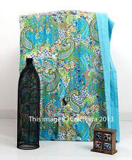 kantha Quilt Paisley Indian Cotton Handmade Bedspread Twin Gudari Turquoise