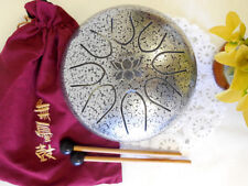 WuYou 8in UFO Steel tongue drum, Lotus symbol drum, Handpan, FREE Mallets & bag
