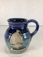 "Vintage Vermont Blue Sailboat Glaze 4"" Tall Creamer/Pitcher Stoneware Pottery"