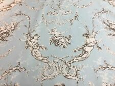 Montespan French Toile de Jouy SOFT BLUE DUCKEGG 280cm Curtain Fabric 2 metres