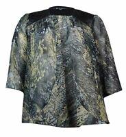 Fashions Women/'s Pleather-Trim Printed Chiffon Cardigan S.L