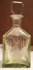 Vaseline Art Deco Style Czechoslovakian Perfume Bottle W/ Frosted Etched Designs