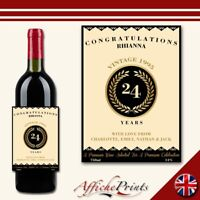 L172 Personalised Ornate Style Birthday Occasion Custom Wine Bottle Label Gift!