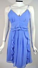 NANETTE LEPORE Royal Blue Chiffon Ruffled Cocktail Party Dress 12 NWT $298