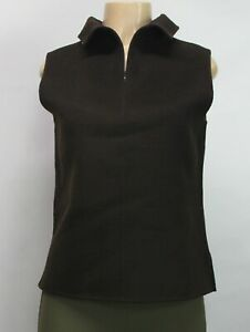 Donna Karan Signature Women's Vest Sleeveless Brown Wool Cashmere Size 10
