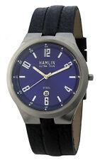 H7 Hot Men's Hamlin Leather Band Quartz Dress Classy Steel Watch Date Classy NEW