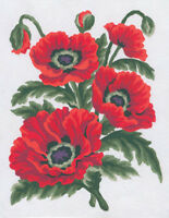 1x Printed Tapestry Thread Canvas Poppies Sewing Craft Tool Hobby Art UK