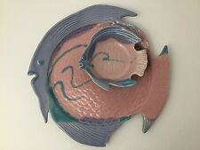 Nancy Jefferson Ocean Fish Dish Art Pottery Platter Dip Bowl Pink Purple Teal