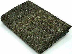 Indian Handmade Ajrakh Kantha Quilt Bohemian King Size Kantha Throw blanket