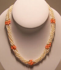 New hand strung 6 strands of 3 1/2 mm fresh water pearl & coral bead necklace.
