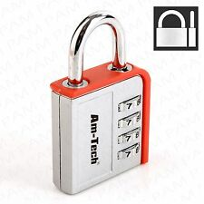 4 Dial RESETTABLE Combination Padlock Gym Locker Shed Toolbox 45mm Security Lock