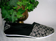 Coach Pandora Black Signature Flats/Slip On Shoes Women's Shoes Size 9.5 M new
