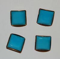 VINTAGE SQUARE TURQUOISE BLUE GLASS BUTTONS BRASS SETTING • 17mm