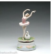 "COLLECTIBLE PORCELAIN BALLERINA WITH SWAN "" SWAN LAKE"" MUSIC BOX,SC49153"