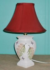 Lamp Table cloth shade ceramic textured finish off white leafs green orange