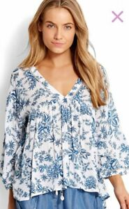 """Seafolly Size S (10) """"Lovebird"""" Blue Toile Floaty Top Coverup"""