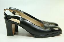 Women's Salvatore Ferragamo Black Leather Patent Leather Slingbacks 8AA Italy