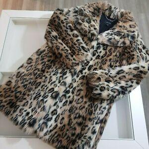 KAREN MILLEN £299 Leopard Print Faux Fur Oversized Coat Size S Small Pockets