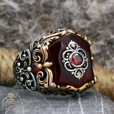 Mens Ruby Engagement Ring Red Quartz Stone Eternity Band Guy Shield Jewelry Gift