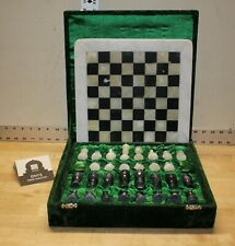Vintage Marble Chess Set Black and White Board Game In Green Velvet Box