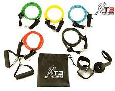 T3 Fitness Resistance Bands Set, 5 Tube Set + Handles, Door Anchor, Ankle Strap