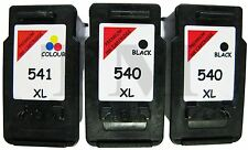 2X PG-540XL & 1XCL-541XL Black & Colour 3 Pack Ink fit Canon Pixma MG3650 Red ED