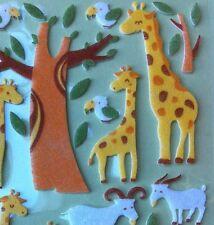 Korean 3D Dimensional Felt Fuzzy Funny Sticker World Safari Giraffe Goat Bird
