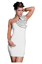 vestito monospalla tubino abito da cocktail con fiore bianco J11